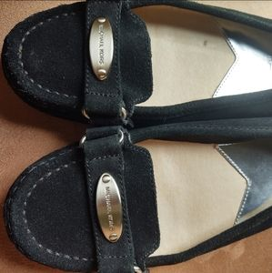 Michael Kors Black Leather Suede Moccasin Loafers Flat Shoes Sz 7.5